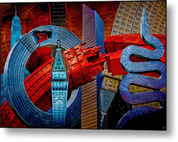 New York City Park Avenue Sculptures Reimagined Metal Print
