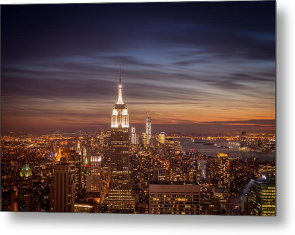New York City Skyline And Empire State Building At Dusk Metal Print