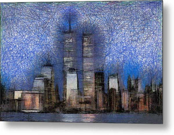 New York City Blue And White Skyline Metal Print