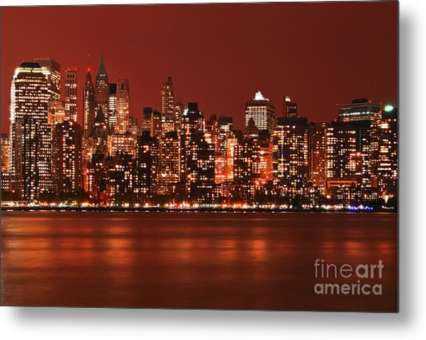 New York City Skyline In Red Metal Print