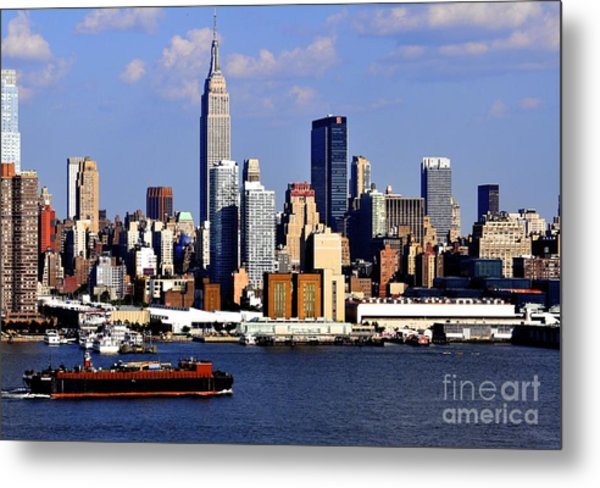 New York City Skyline With Empire State And Red Boat Metal Print