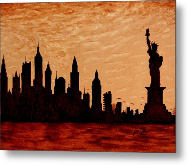New York City Sunset Silhouette Metal Print