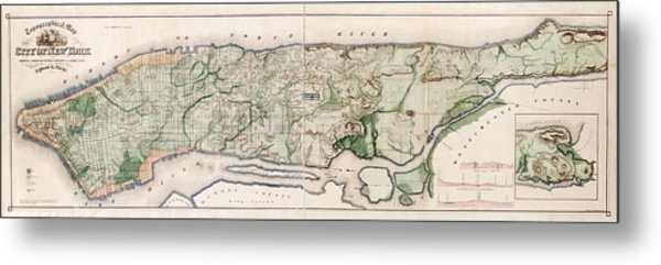 New York City Topography Metal Print by Library Of Congress, Geography And Map Division