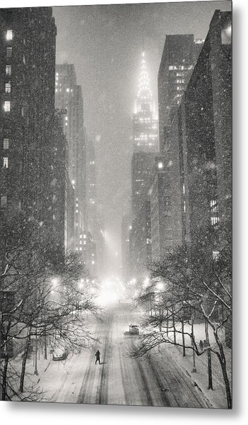New York City - Winter Night Overlooking The Chrysler Building Metal Print