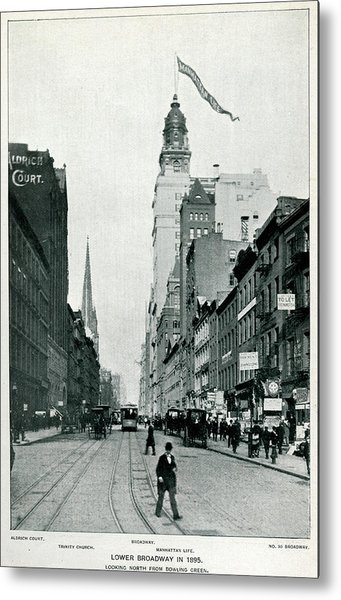 New York  Lower Broadway, Looking North Metal Print by Mary Evans Picture Library