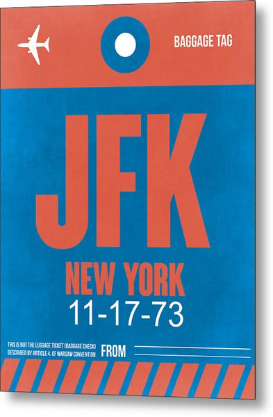 New York Luggage Tag Poster 1 Metal Print