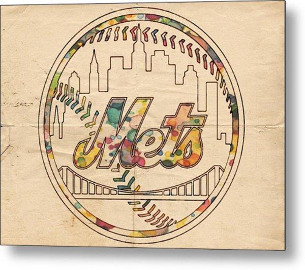 New York Mets Poster Vintage Metal Print