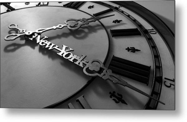 New York Minute Clock Hands Metal Print
