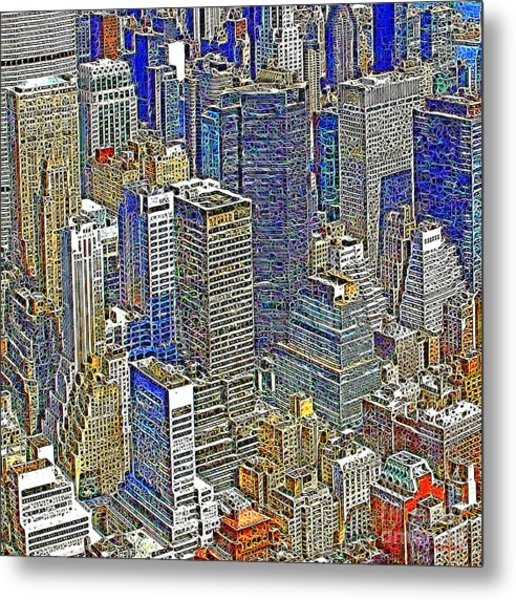 New York Skyline 20130430v5-square Metal Print by Wingsdomain Art and Photography