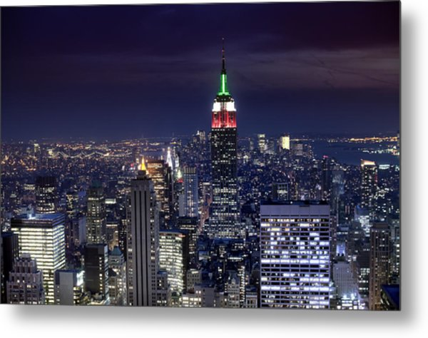 New York Skyline Night Color Metal Print