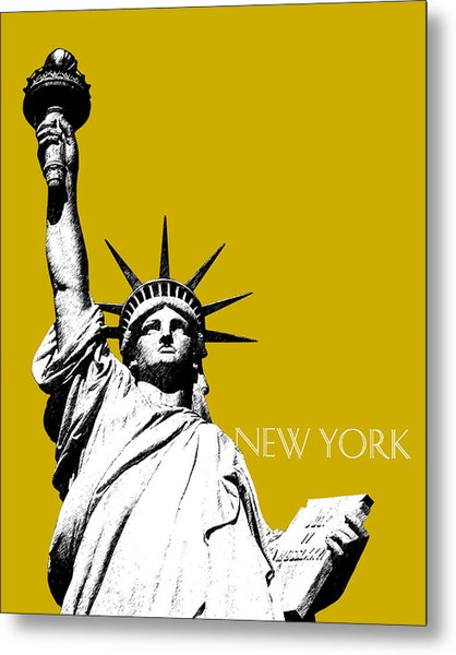 New York Skyline Statue Of Liberty - Gold Metal Print