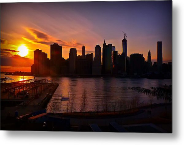 New York Skyline Sunset -- From Brooklyn Heights Promenade Metal Print