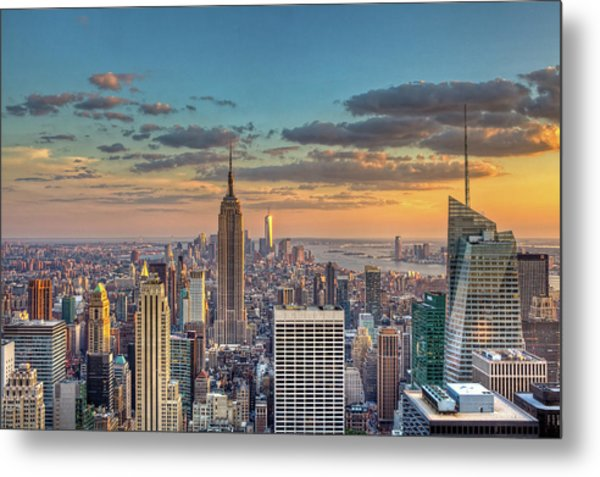 New York Skyline Sunset Metal Print by Basic Elements Photography