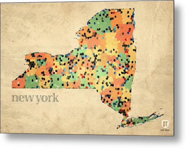 New York State Map Crystalized Counties On Worn Canvas By Design Turnpike Metal Print