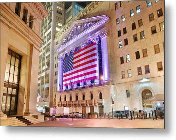 New York Stock Exchange At Night Metal Print