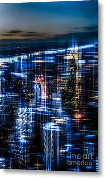 New York - The Night Awakes - Blue I Metal Print