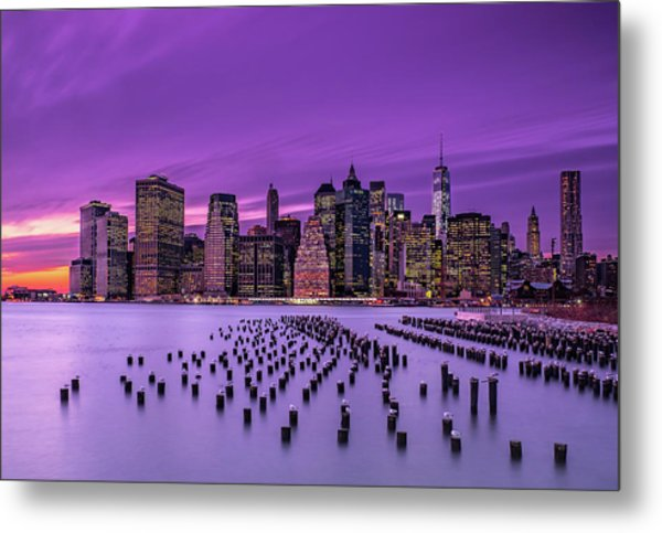 New York Violet Sunset Metal Print by J.g. Damlow