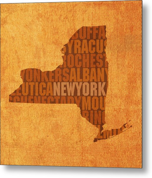 New York Word Art State Map On Canvas Metal Print
