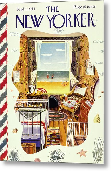 New Yorker Magazine Cover Of A Bedroom By The Sea Metal Print