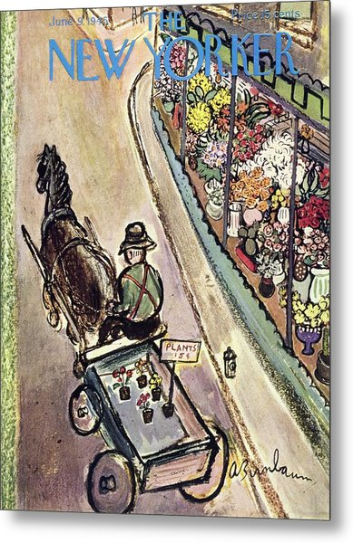 New Yorker Magazine Cover Of A Flower Vendor Metal Print