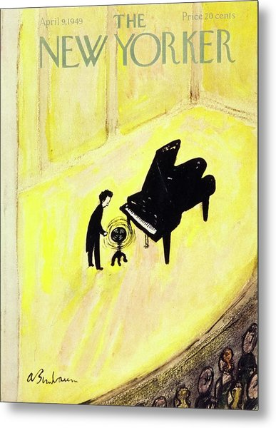New Yorker Magazine Cover Of A Pianist On Stage Metal Print by Aaron Birnbaum
