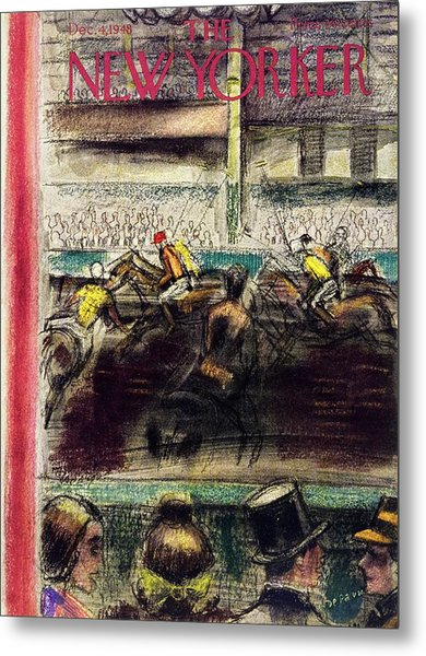 New Yorker Magazine Cover Of A Polo Match Metal Print