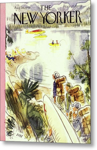 New Yorker Magazine Cover Of Campers Metal Print by Leonard Dove