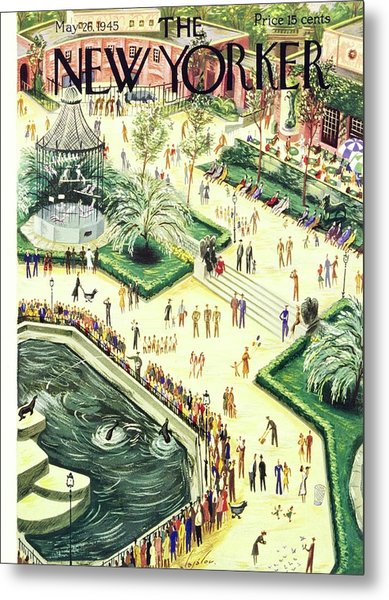 New Yorker Magazine Cover Of Central Park Zoo Metal Print by Constantin Alajalov
