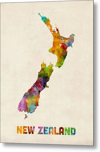 New Zealand Watercolor Map Metal Print