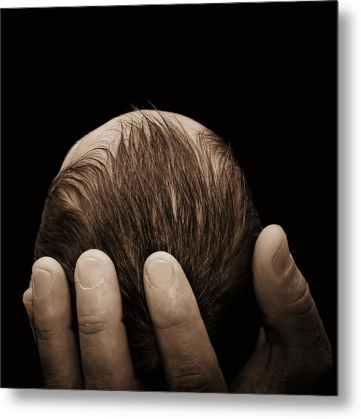 Newborn In Hand Of His Father Metal Print