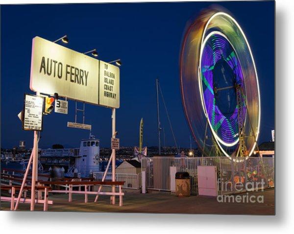 Newport Beach Auto Ferry Metal Print by Eddie Yerkish