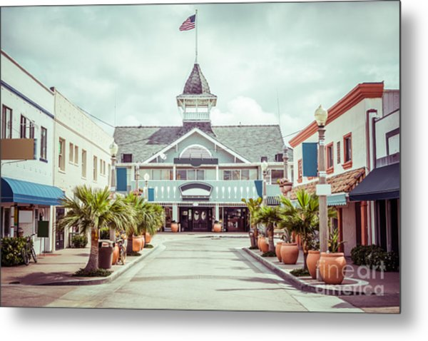 Newport Beach Balboa Main Street Vintage Picture Metal Print by Paul Velgos