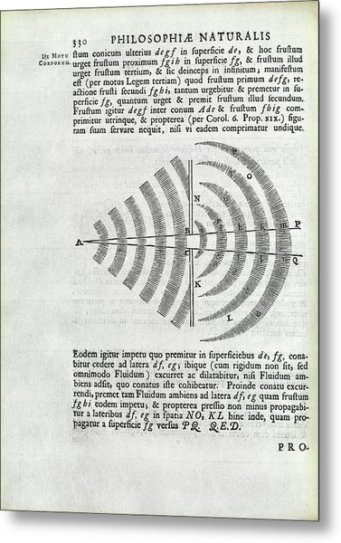 Newton On Wave Theory Metal Print by Royal Institution Of Great Britain