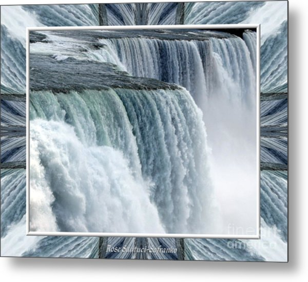 Metal Print featuring the photograph Niagara Falls American Side Closeup With Warp Frame by Rose Santuci-Sofranko