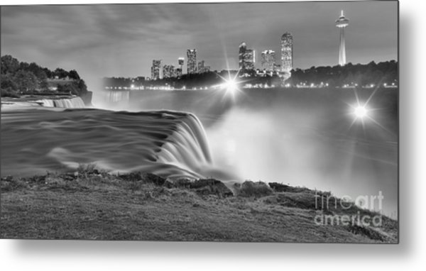 Niagara Falls Black And White Starbursts Metal Print