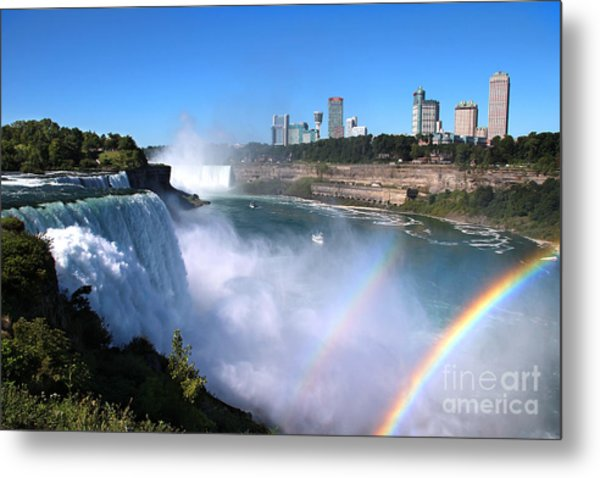 Metal Print featuring the photograph Niagara Falls Double Rainbow by Jemmy Archer