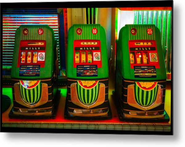 Nickel Dime Quarter Slots Metal Print