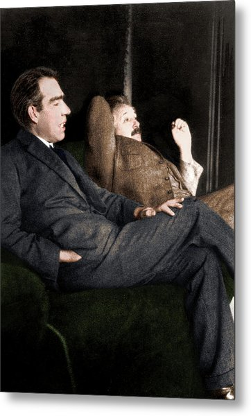 Niels Bohr And Albert Einstein Metal Print by Photograph By Paul Ehrenfest, Copyright Status Unknown. Coloured By Science Photo Library