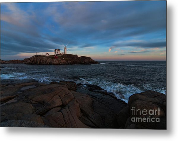 Night At Nubble Light Metal Print