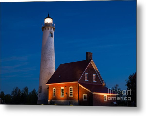 Night At The Lighthouse Metal Print