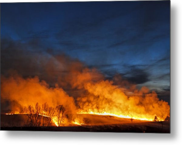 Night Burn In The Flint Hills Metal Print