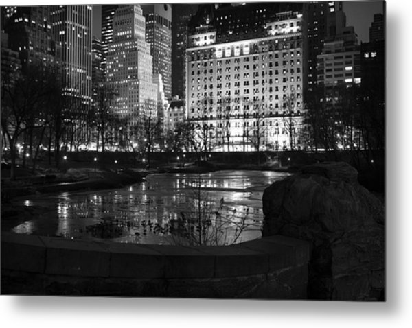 Night Central Park Lake H Metal Print