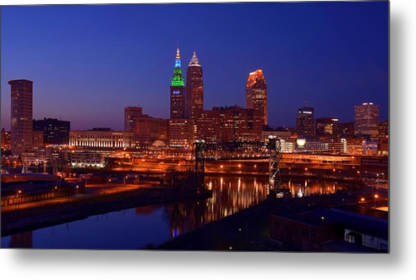 Night Cleveland Skyline From The South Metal Print