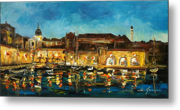 Night In Dubrovnik Harbour Metal Print