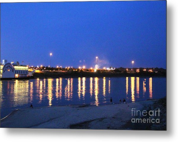 Night Light Dancing On The River Metal Print