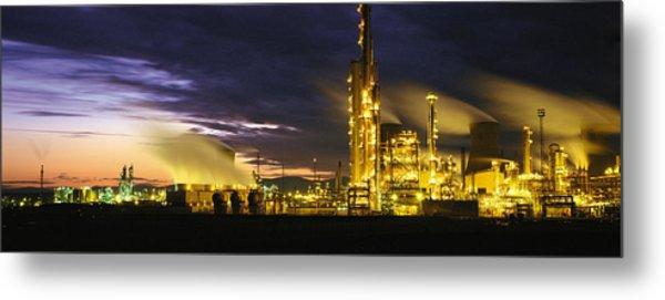 Night Oil Refinery Metal Print