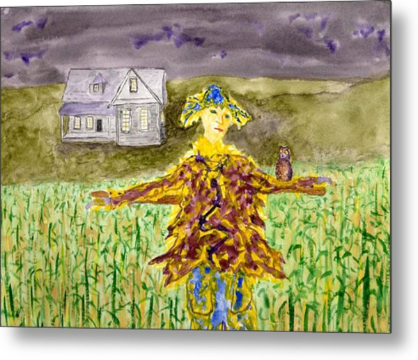 Night Owl Scarecrow Metal Print