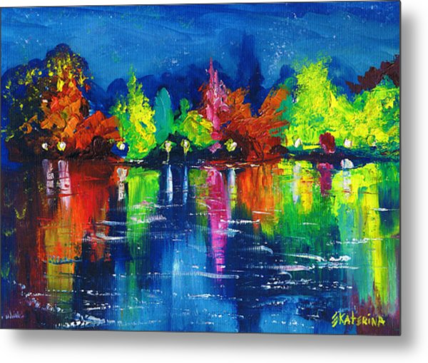 Night Park By The River Lanterns Trees Metal Print