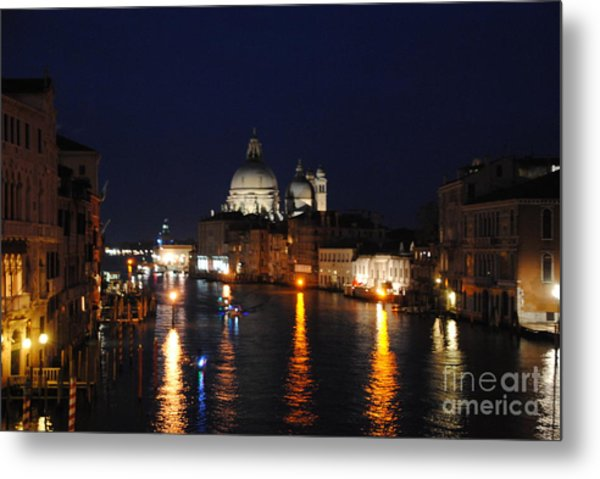 Night Reflections On Grand Canal Metal Print by Jacqueline M Lewis