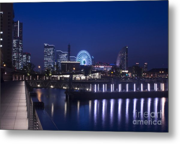 Night Scene In Blue Of Minatomirai In Yokohama Metal Print